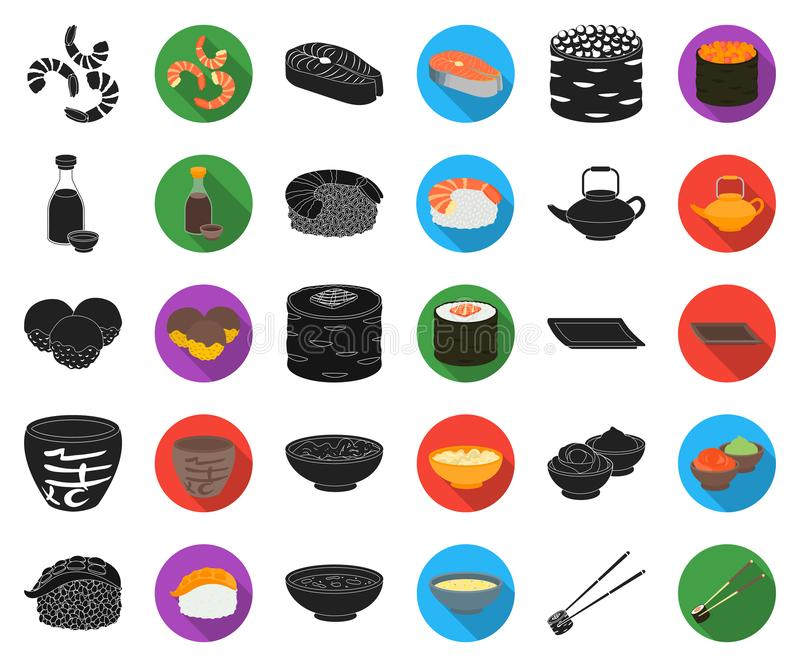 Sushi and seasoning black,flat icons in set collection for design. Seafood food, accessory vector symbol stock web stock illustration