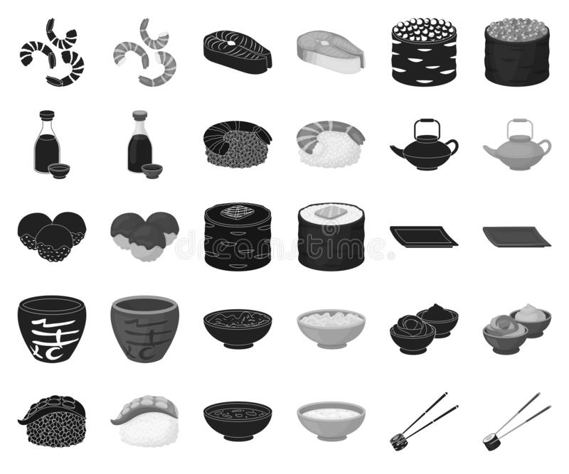 Sushi and seasoning black,monochrome icons in set collection for design. Seafood food, accessory vector symbol stock web vector illustration