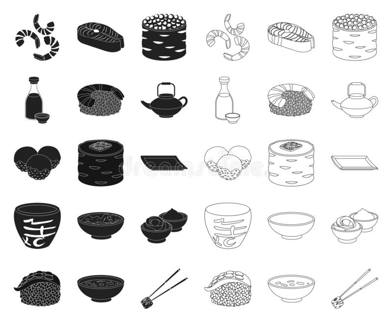 Sushi and seasoning black,outline icons in set collection for design. Seafood food, accessory vector symbol stock web royalty free illustration