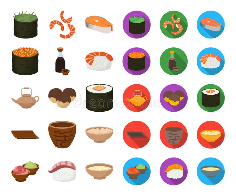 Sushi and seasoning cartoon,flat icons in set collection for design. Seafood food, accessory vector symbol stock web vector illustration