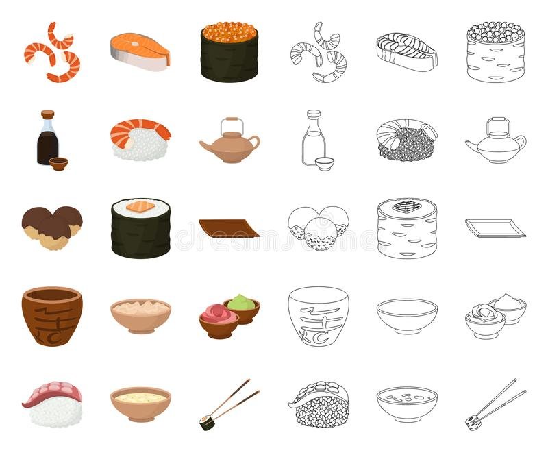 Sushi and seasoning cartoon,outline icons in set collection for design. Seafood food, accessory vector symbol stock web vector illustration
