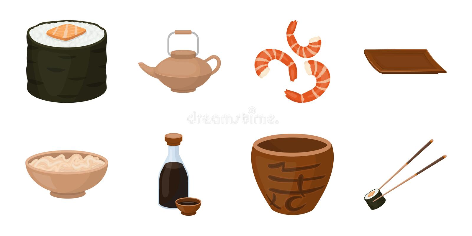 Sushi and seasoning icons in set collection for design. Seafood food, accessory vector symbol stock illustration vector illustration