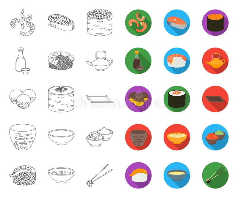Sushi and seasoning outline,flat icons in set collection for design. Seafood food, accessory vector symbol stock web stock illustration
