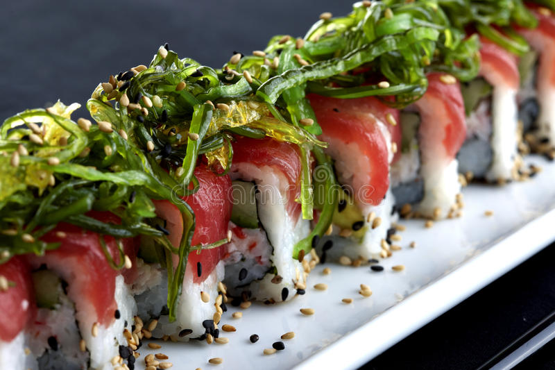 Sushi served on plate royalty free stock photos