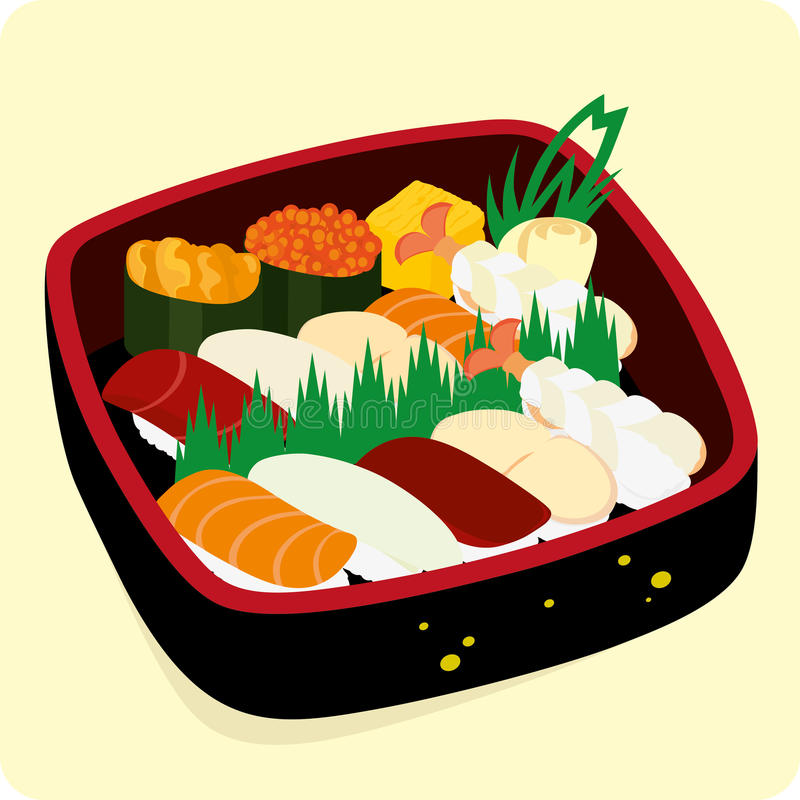 Download Sushi set. stock vector. Image of japan, food, omelet - 16186981
