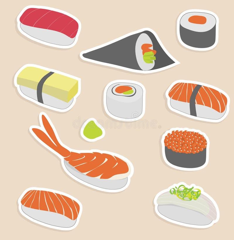 Sushi set. Vector illustration of sushi set make in sticker style royalty free illustration