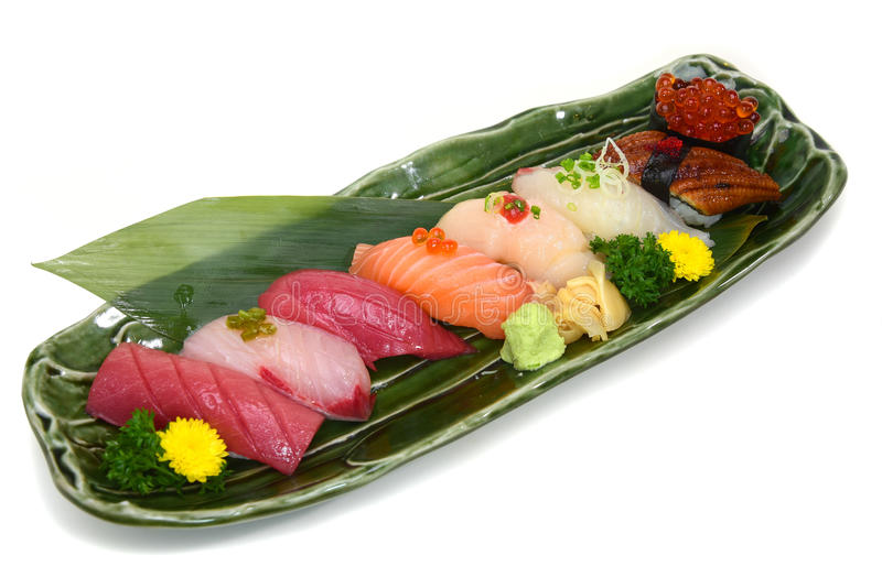 Sushi Set assorted nigiri platter on plate white background with royalty free stock images