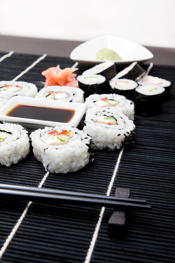 Download Sushi Set On Black Bamboo Mat Stock Image - Image: 28171701