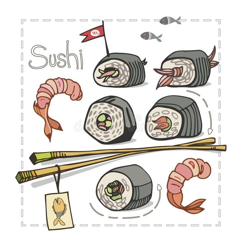Sushi set with chopsticks on white background. Sushi. Asian food. Vector illustration stock illustration