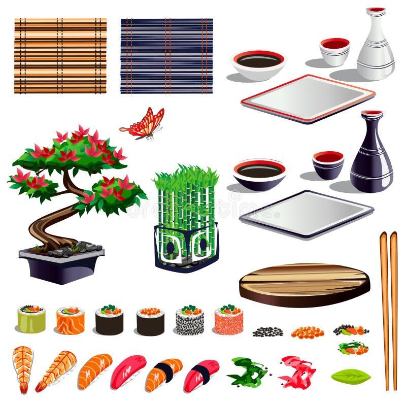 Sushi set of design elements royalty free illustration