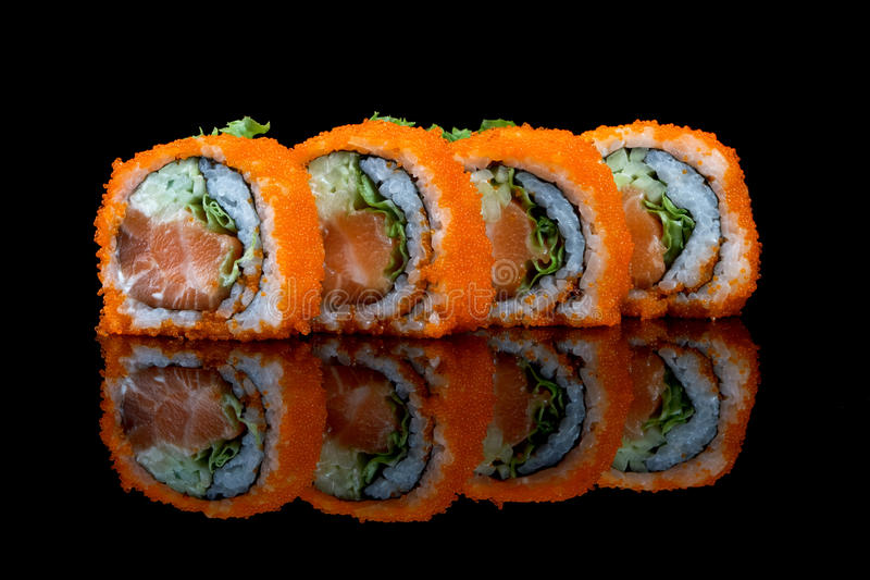 Sushi set with fish eggs. Sushi with flying fish eggs on white background stock photos