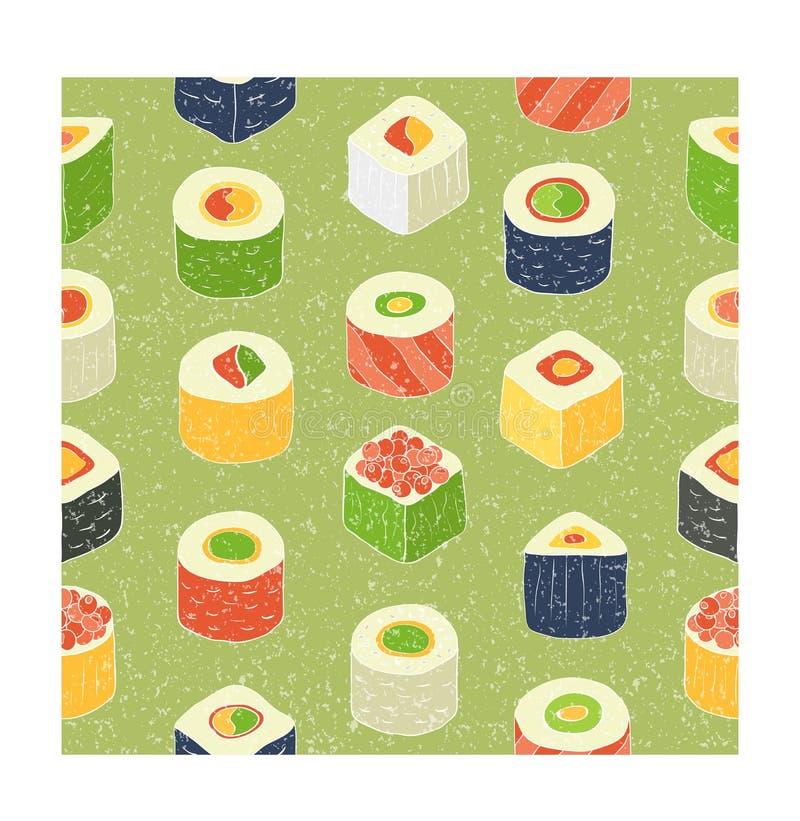 Sushi set. Flat design rolled sushi pattern. Vector Illustration stock illustration