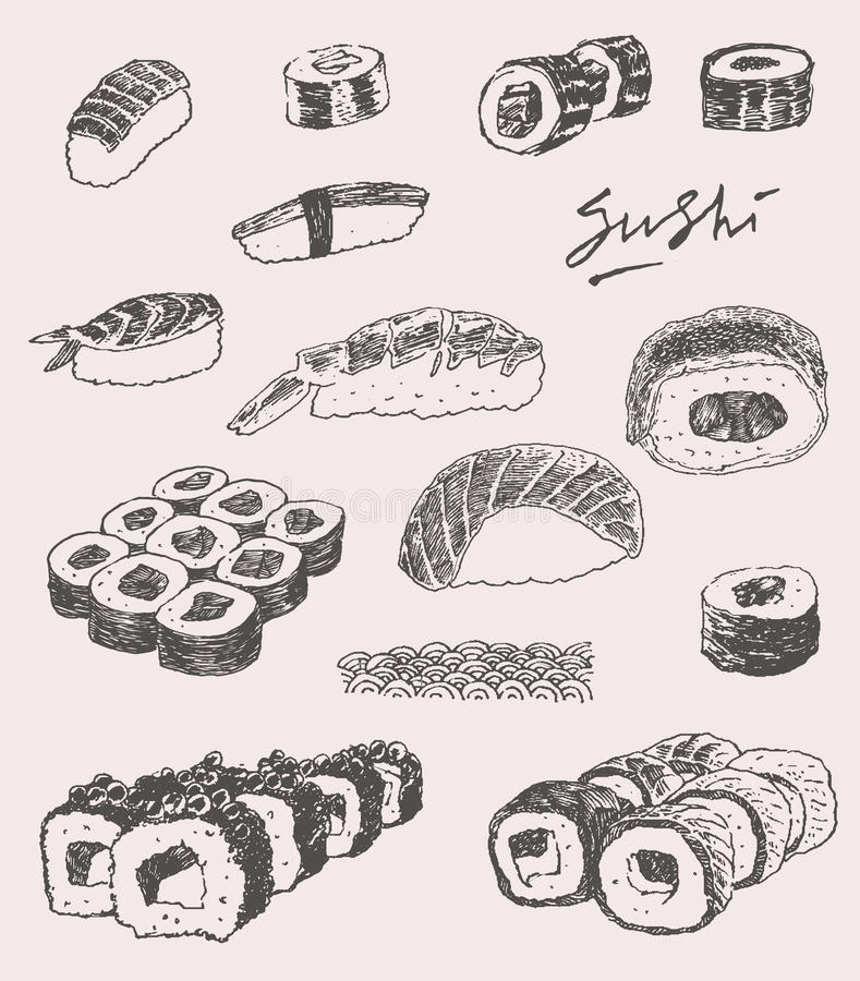 Sushi Set Hand drawn Engraving Vintage Vector. Illustration stock illustration