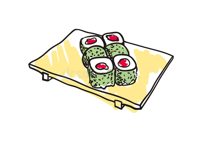 Sushi set hand drawn icon stock illustration