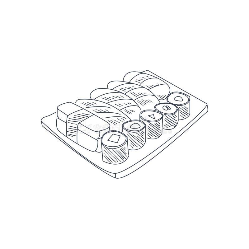 Sushi Set Hand Drawn Sketch. Sushi Set Hand Drawn Cool Monochrome Vector Contour Sketch stock illustration