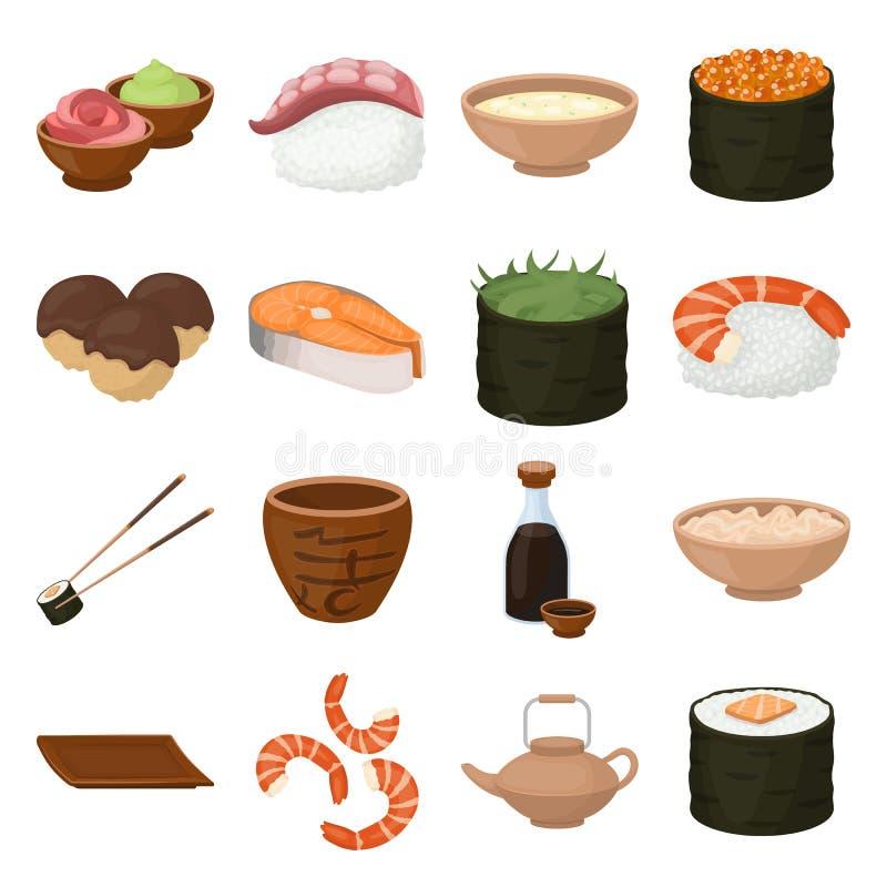 Sushi set icons in cartoon style. Big collection of sushi vector illustration symbol. Sushi set icons in cartoon style. Big collection of sushi vector symbol stock illustration