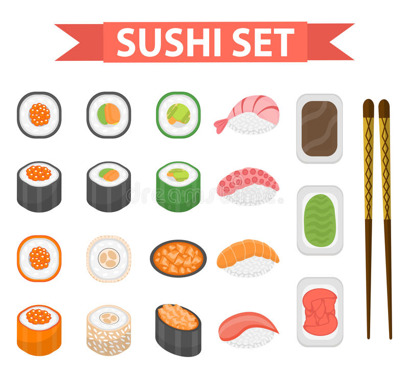 Sushi set icons, element for design, flat style. Japanese rolls, wasabi, soy sauce, ginger, chopsticks on white. Sushi set icons, element for design, flat style vector illustration
