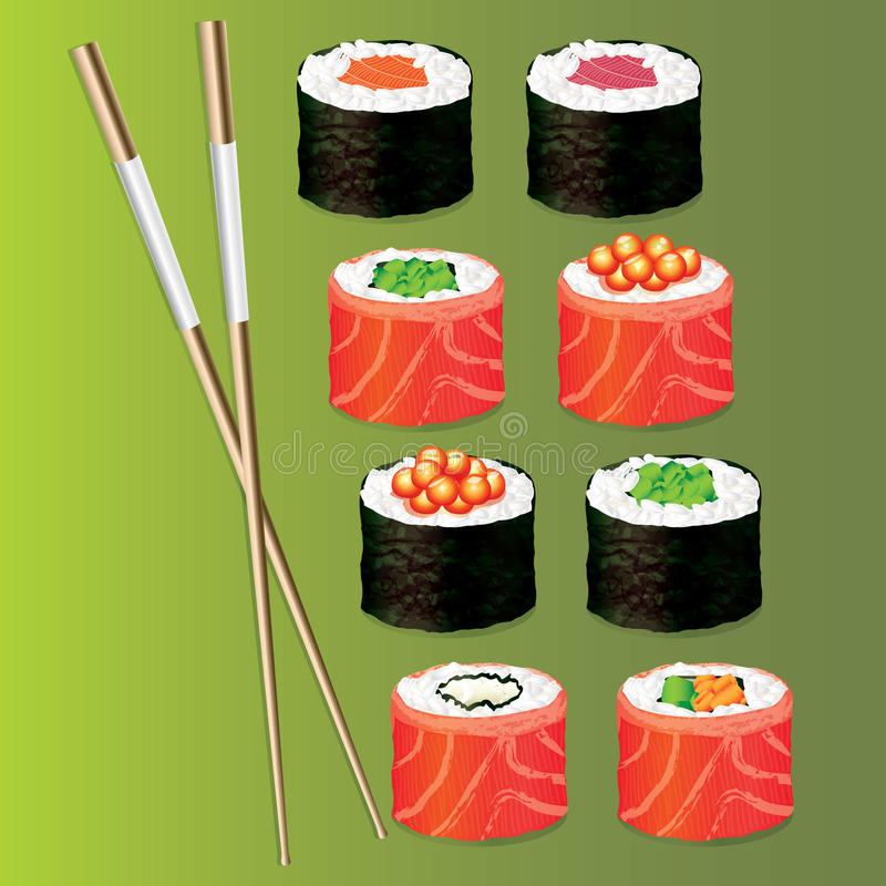 Sushi set icons stock illustration