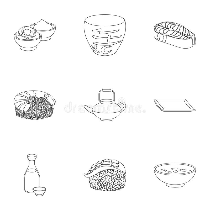 Sushi set icons in outline style. Big collection of sushi vector symbol stock illustration royalty free illustration