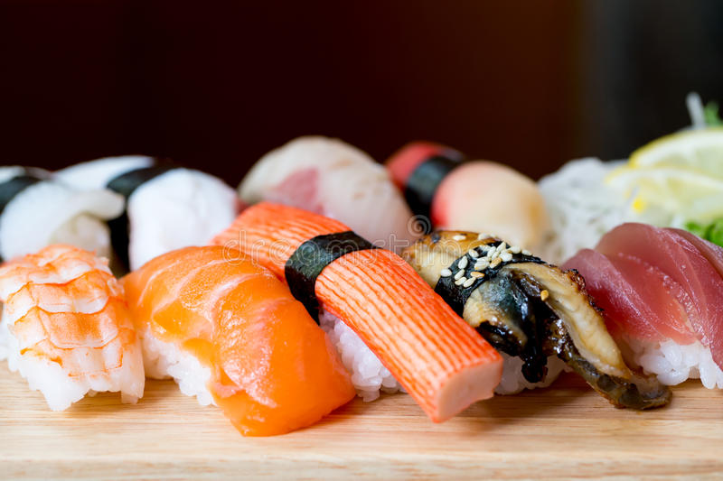 Sushi set, Japanese food royalty free stock photos