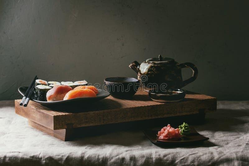 Sushi Set nigiri and sushi rolls stock image