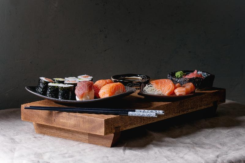Sushi Set nigiri and sushi rolls stock photography