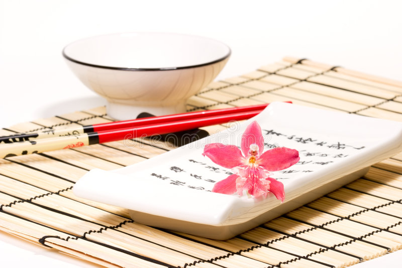Download Sushi Set And Orchid Flower On Stock Photo - Image: 2399986