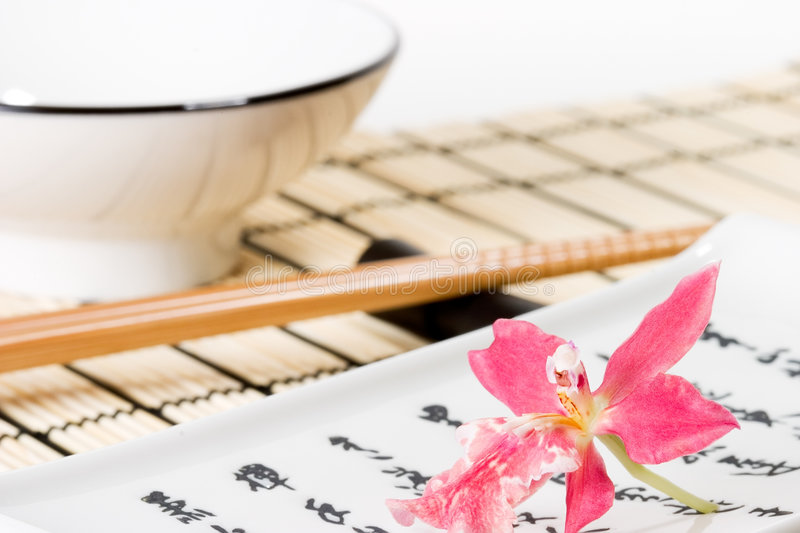 Download Sushi Set And Pink Orchid Flower Stock Image - Image: 1701357