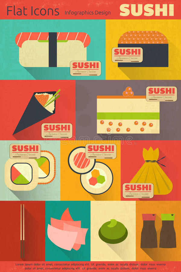 Sushi. Set of Retro Sushi Labels in Vintage. Flat Design. Mobile UI Style. Illustration stock illustration