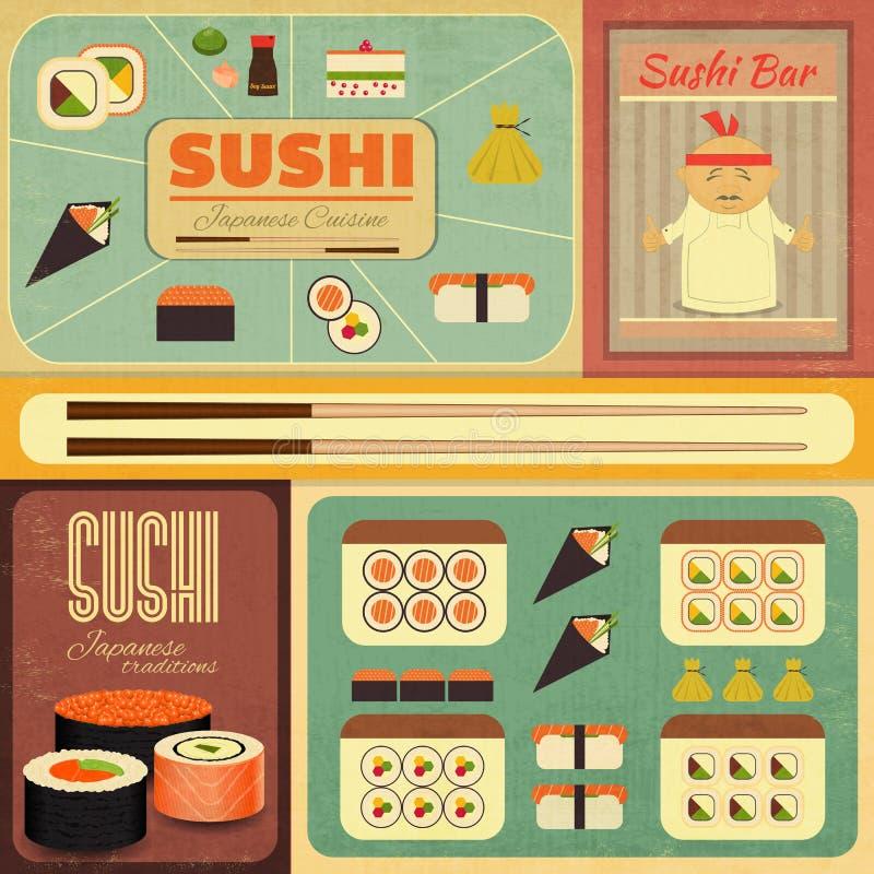 Sushi. Set of Retro Sushi Labels in Vintage Style. Illustration stock illustration