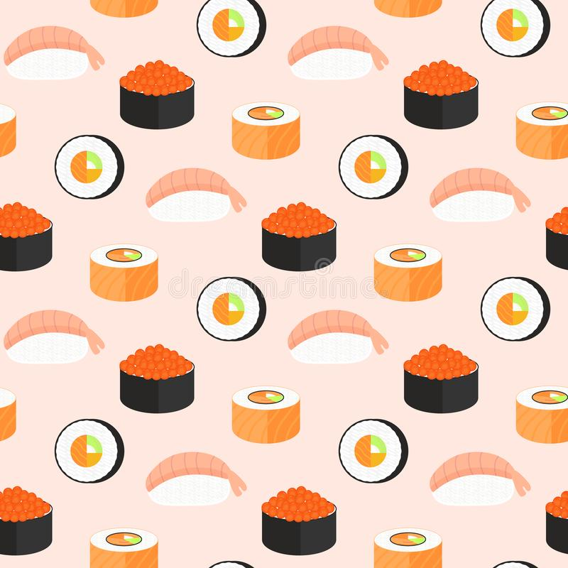 Sushi set, rolls with salmon, nigiri with shrimp, maki. Traditional Japanese food seamless pattern. royalty free illustration
