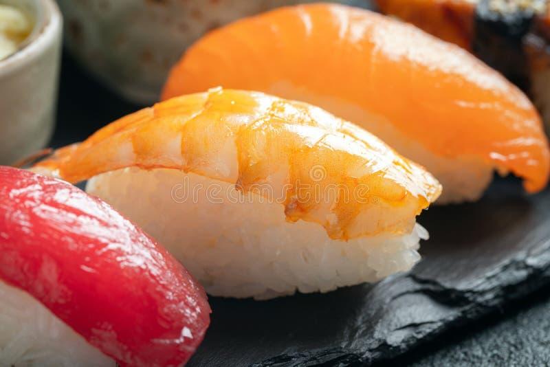 Sushi set of salmon, tuna and smoked eel. stock photo