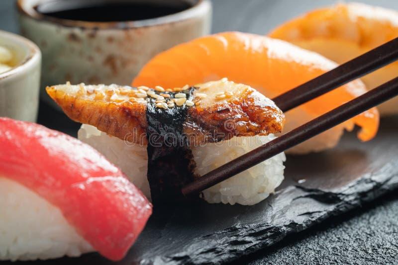 Sushi set of salmon, tuna and smoked eel. stock images