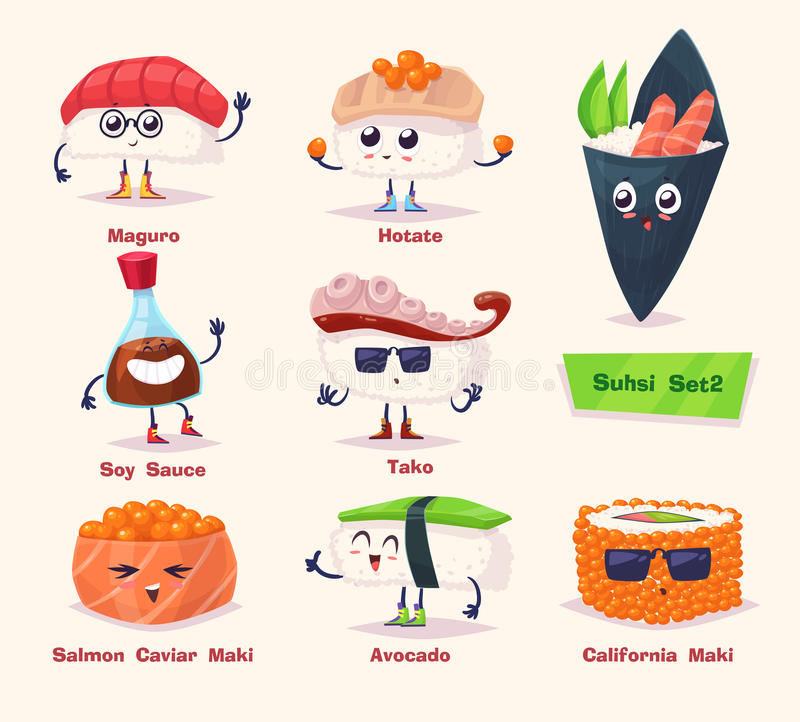 Sushi set. Soy sauce and sushi roll. Japanese food. Sushi set. Soy sauce, wasabi and sushi rolls. Japanese food. Vector cartoon illustration. Cute stylish vector illustration