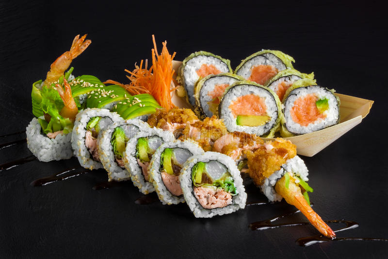 Sushi set with sushi royalty free stock photo