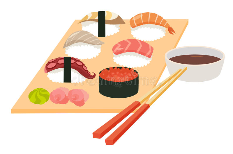 Sushi set vector.Shrimp sushi, Octopus, Salmon fish sushi, Tuna sushi, Acne, Sushi roll caviar stock illustration
