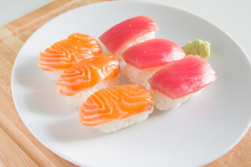 Sushi set on white plate. Janpan food royalty free stock image