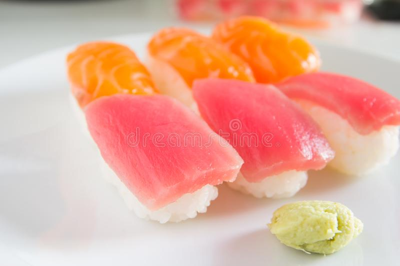 Sushi set on white plate. Janpan food stock photography