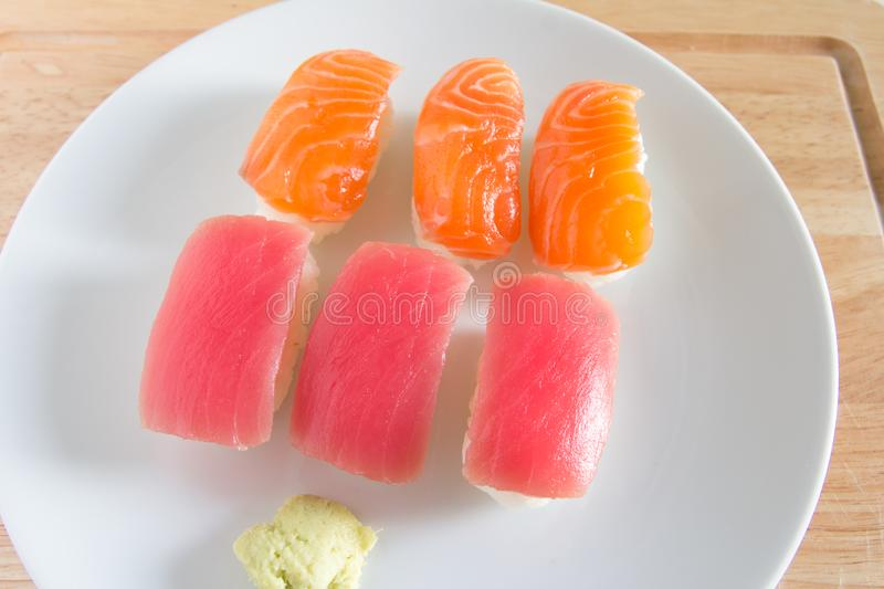 Sushi set on white plate. Janpan food stock photo