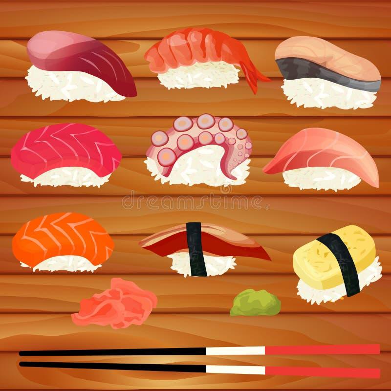 Sushi set on a wooden background. Vector illustration stock illustration