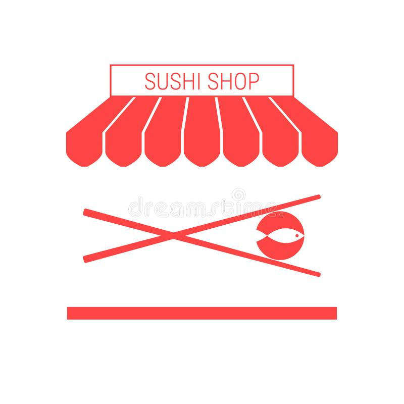 Sushi Shop, Japanese Restaurant Single Flat Vector Icon. Striped Awning and Signboard vector illustration