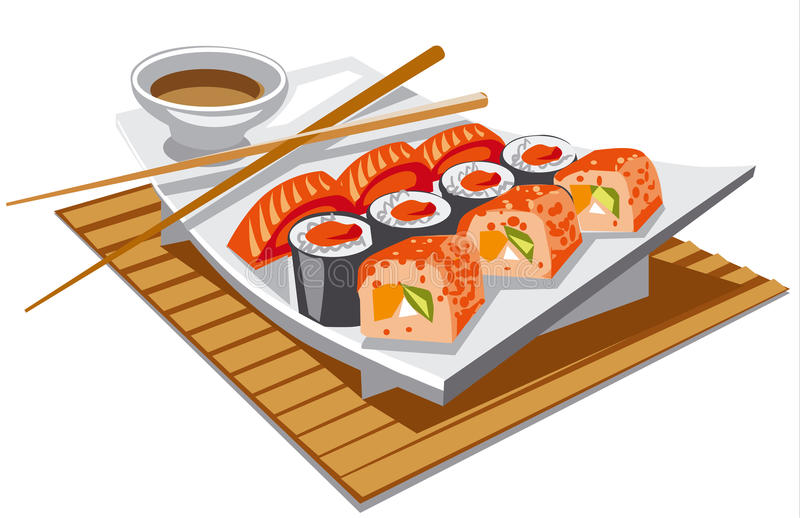 Sushi with soy sauce. Illustration of japanese food sushi with soy sauce royalty free illustration