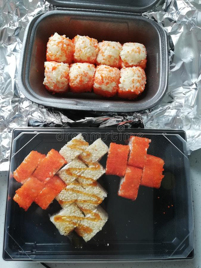 Sushi ställde in japaneese mat royaltyfria foton