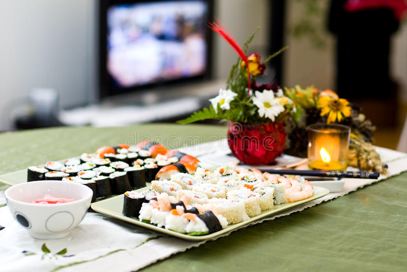 Download Sushi table stock image. Image of table, oriental, homemade - 14296819