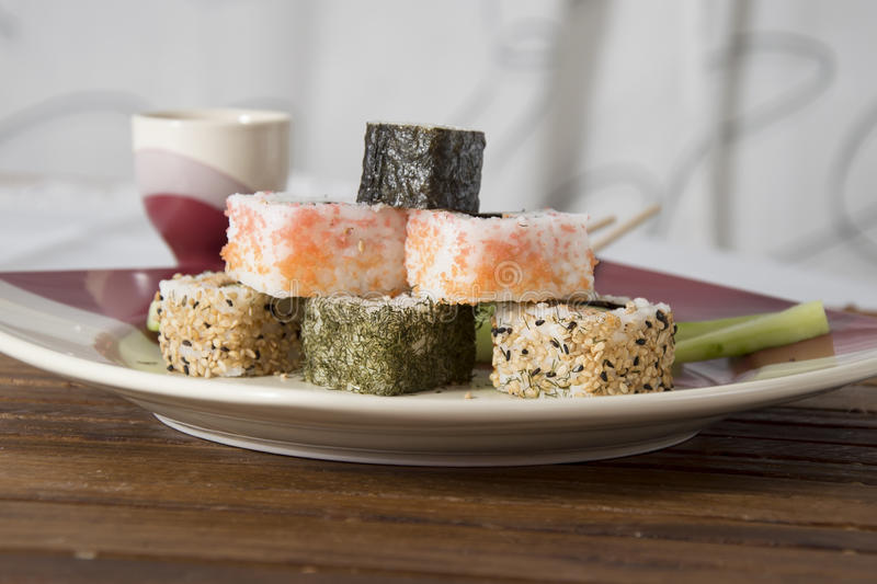 Sushi on the table royalty free stock photos