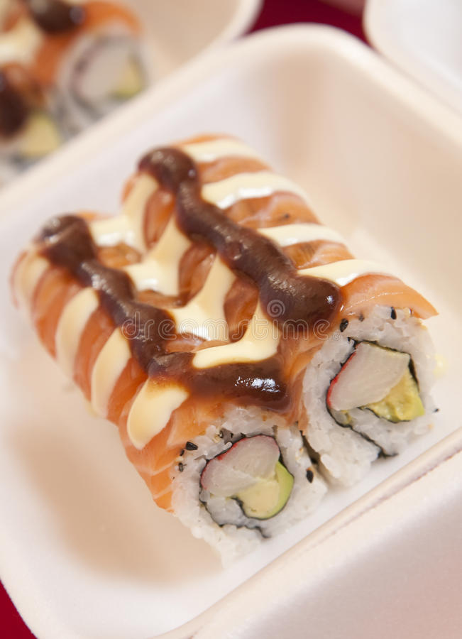 Sushi for take-away royalty free stock photography