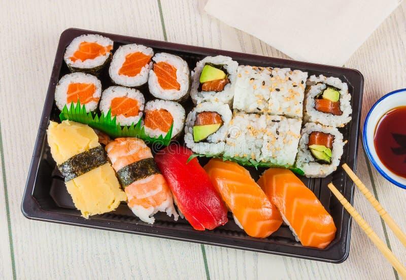 Sushi takeaway tray royalty free stock image