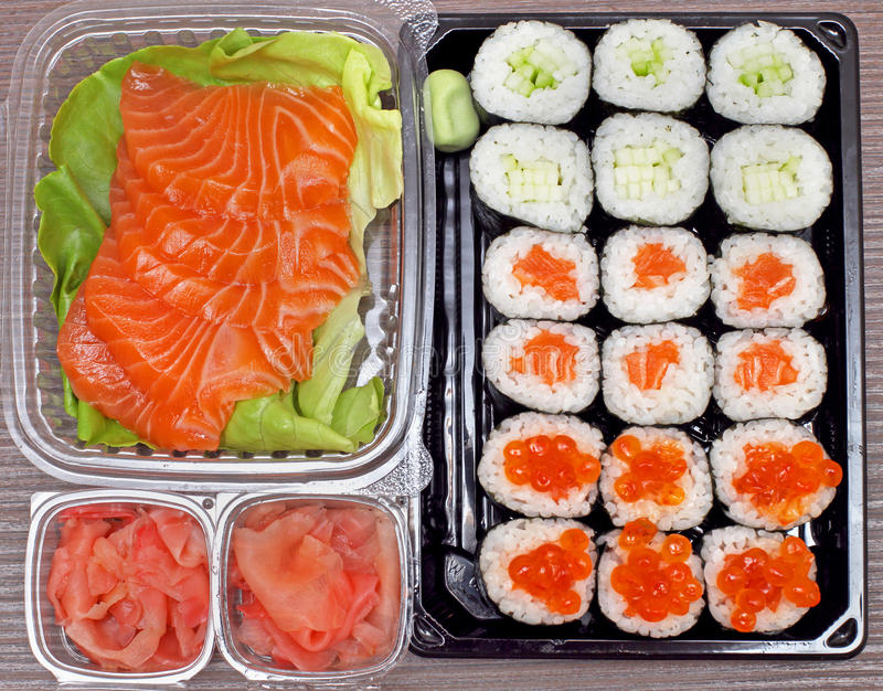 Download Sushi takeout stock photo. Image of maki, caviar, ginger - 39506670