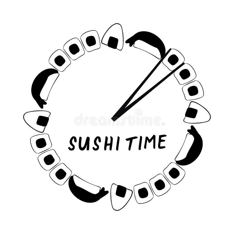 Sushi time clock banner and logo with salmon maki rolls, shrimp sushi and onigiri royalty free illustration