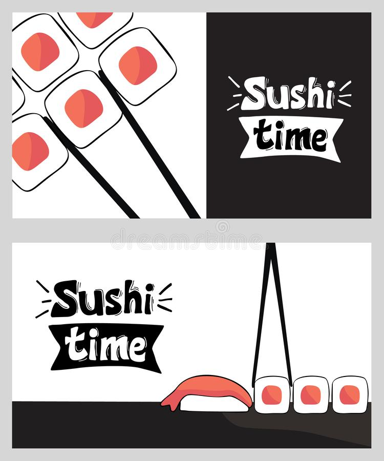 Sushi time business card design templates vector illustration
